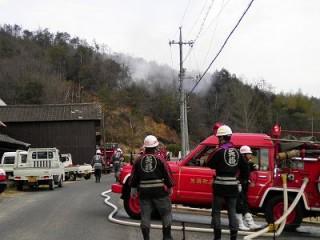 近所の山火事
